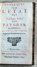 Remarques sur L'ETAT des Provinces Unies des PAYS-BAS