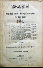 Adress-Buch von Cassel und Umgebungen 1866.