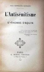 L'Antisémitisme de Saint-Thomas d'Aquin.
